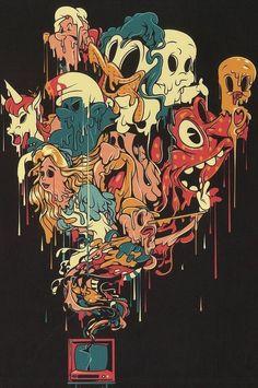 Ideas Trippy Art Drawing Drugs Source by Trippy Cartoon, Dope Cartoon Art, Art Bizarre, Weird Art, Trippy Drawings, Art Drawings, Drawing Art, Psychedelic Art, Art Triste
