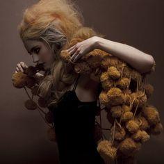 "Pom Pom Shawl-Una Hlin Kristjansdottir's Hair Raising ""Royal Extreme"" Clothing Line Editorial Fashion, Fashion Art, High Fashion, Womens Fashion, Fashion Design, Funky Fashion, Fashion Clothes, Extreme Clothing, Avant Garde Hair"