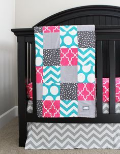 Custom Crib bedding Hot Pink and Turquoise Baby by GiggleSixBaby