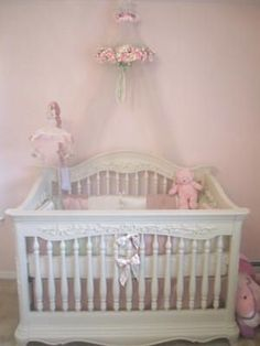 Pink white and sage green baby girl princess nursery with tiara and ...