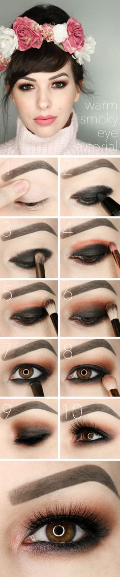 Warm Smoky Eye Tutorial Valentines Day Makeup-Follow this step by step, warm smoky eye tutorial using the Urban Decay Naked Ultimate Basics palette and Battington Lashes.