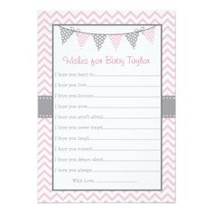 Pink Chevron Wishes for Baby Cards