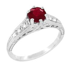 Art Deco Vintage Style Ruby and Diamond Filigree Engagement Ring in 14 Karat White Gold