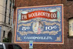 F.W. Woolworth Co., ghost ad, painted ad sign on brick, vintage
