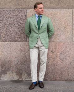 "508 Likes, 10 Comments - @thenordicfit on Instagram: ""My amazing @sartoria_peluso bespoke sport coat in wasabi green linen silk blend and in Peluso's…"""