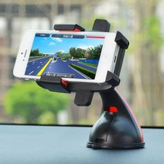 [USD1.81] [EUR1.64] [GBP1.28] Curved Handle Suction Cup Car Phone Holder Navigation (Colour: Red)