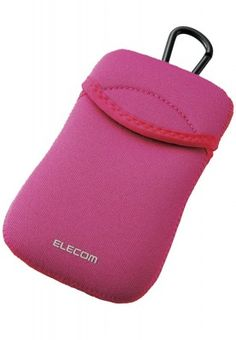 A pink coloured mobile phone cover from Elecom. It is made from polyester.