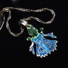 Blue enamel sterling silver flower bluebottle pendant by JRajtar