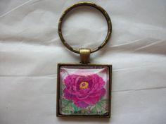 Nippon Japan Postage Stamp Keychain Flower Domed by BadCatCraft