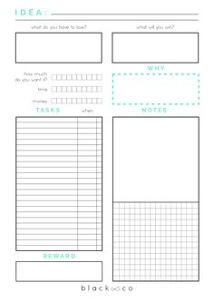 Free Printable Idea Planner from Black & Co.The Free Printable Planner that will help you to develop your new great idea. It helps you to decide to commit Planner Pages, Life Planner, Happy Planner, Printable Planner, Free Printables, Weekly Planner, Planner Ideas, Bujo, List Template