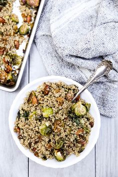 Quinoa with Roasted Brussels Sprouts and Leeks | www.floatingkitchen.net