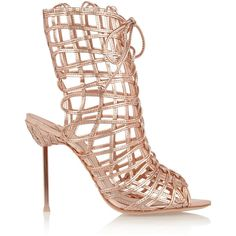 Sophia Webster Delphine metallic leather sandals ($285) ❤ liked on Polyvore featuring shoes, sandals, heels, metallic, caged sandals, caged high heel sandals, leather lace up sandals, leather shoes and metallic high heel sandals