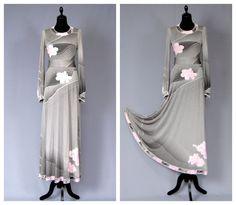 LEONARD Paris Signed Vintage 1970s Grey & Pink Floral by vdpshop, €690.00
