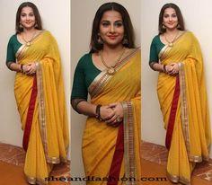 Vidhya Balan Saree with Three forth sleeve blouse Indian Attire, Indian Ethnic Wear, Indian Outfits, Lehenga Saree, Saree Dress, Red Saree, Sabyasachi, Indian Beauty Saree, Indian Sarees