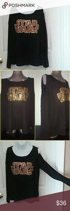 Star Wars Rhinestone Cold Shoulder Top Poly/rayon blend black long sleeve top. Cold shoulder style with scoop neck. Classic Star Wars logo in gold rhinestones. Epic collaboration between Star Wars and Rock & Republic! Rock & Republic Tops Tees - Long Sleeve