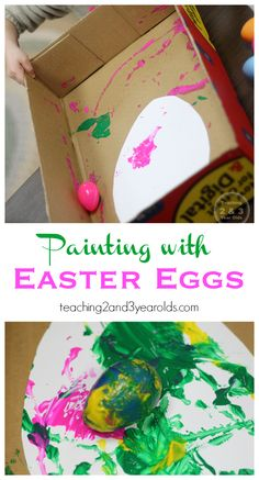 Topsy Turvy Painting with Eggs - Teaching 2 and 3 year olds