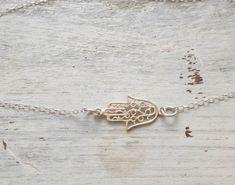 Hamsa bracelet sideway hamsa silver bracelet silver hamsa by Avnis