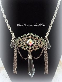 Necklace Handmade Ladies Victorian Renaissance Silver Crystal OOAK Emerald Medieval - pinned by pin4etsy.com