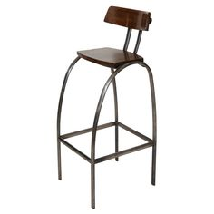 Steel Bar Stool with Wooden Seat and Back