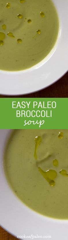 Paleo broccoli soup in just 15 minutes using 5 pantry ingredients. The recipe is deceptively simple, but it makes a rich creamy broccoli soup with a hint of garlic. ~ http://cookeatpaleo.com