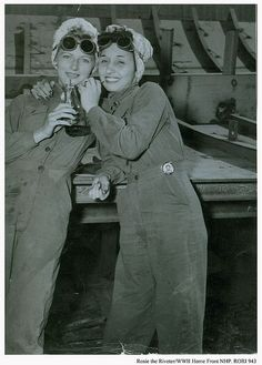 "Happy Women's History Month. Real-life ""Rosies"" Bennice Vick Russell and sister-in-law Marjorie Vick share a soda during a break at Brown Shipbuilding Co. in Houston, TX. 1944 #houston #history"
