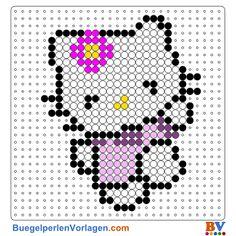Hello Kitty mit Blumme Bügelperlen Vorlage