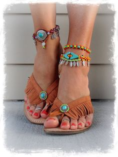 Cowgirl FEATHER charm ANKLE Bracelet beaded Anklet by GPyoga