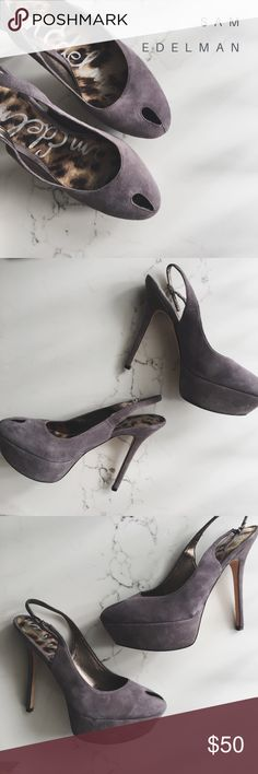 NEW || • Sam Edelman Heels Awesome condition! Worn only a couple times. The bottoms have been walked on but nothing too crazy and definitely not damaged. LOVE the grey lavender color Shoes Heels