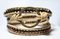 bronze beaded leather wrap bracelet: three strand, triple wrap