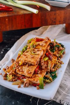 Home-Style Tofu Stir-fry - December 18 2018 at - Amazing Ideas - and Inspiration - Yummy Recipes - Paradise - - Vegan Vegetarian And Delicious Nutritious Meals - Weighloss Motivation - Healthy Lifestyle Choices Ground Meat Recipes, Tofu Recipes, Asian Recipes, Cooking Recipes, Asian Foods, Ethnic Recipes, Chinese Recipes, Drink Recipes, Yummy Recipes