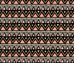 Tribal - Black Peach (Large) fabric by kimsa on Spoonflower - custom fabric