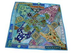 India Inspired Tapestry Sequin Blue Embroidered Wall Hanging Throw Mogul Interior http://www.amazon.com/dp/B00LA0BQWA/ref=cm_sw_r_pi_dp_2TOUtb1PKBT5WVZ9