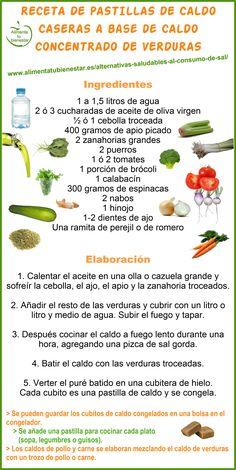 Receta de pastillas de #caldo caseras a base de caldo concentrado de #verduras = alternativa saludable al consumo de sal | alimentatubienestar.es
