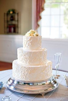 White Wedding Cake with Lace Pattern | Wedding Cakes Photos | Brides.com