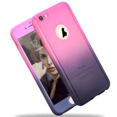 Para apple gradiente híbrido case plástico protector de cuerpo completo para iphone 7 SÍ 5 5S 6 6 s Plus Teléfono Bolsa con Vidrio Templado Envío