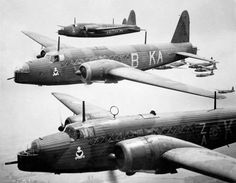 A group of Bombers on a bombing run . Vickers Wellington MKI