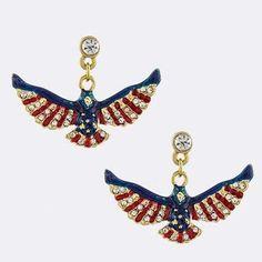 PATRIOTIC-EAGLE-4TH-OF-JULY-RED-WHITE-BLUE-EAGLE-RHINESTONE-DANGLE-EARRINGS
