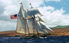 """Tall ship """"Lynx"""" off Hawaii"""
