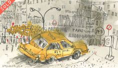 'New York Taxi Carwash '        WATERCOLOUR & PENCIL          Image size  21 x 12 cm       Framed size  37 x 28 cm          £185  framed in oak