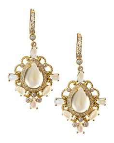 Moonstone & Diamond Drop Earrings by Penny Preville at Last Call by Neiman Marcus.