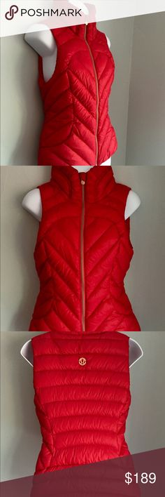 Lululemon Down Town Vest - Size 6 - Currant Red GORGEOUS Lululemon Down Town Vest  COLOR: Red Currant  Size: 6 Condition: Flawless condition!  Looks new and was only worn twice!   This vest has hardware that is an amazing rose gold tone in color...very rare for Lululemon items!  Highly coveted and selling for $200+ on other sites! lululemon athletica Jackets & Coats Vests