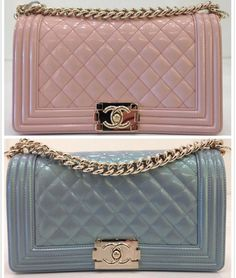 Chanel Light Pink and Light Blue Iridescent Calfskin Boy Bags