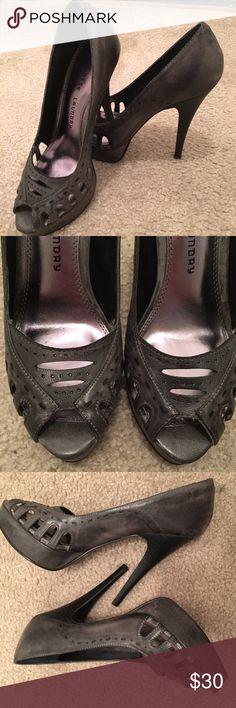 """Chinese Laundry Gray//Black Open Toe Spike Heels Chinese Laundry Gray//Black Open Toe Spike Heels - worn once - 5"""" heel with 1"""" platform - 7M - gray body with black heel - like new Chinese Laundry Shoes Heels"""