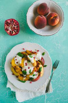 Peach Salad with Yoghurt and Pomegranate | Souvlaki For The Soul