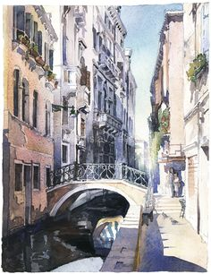 Urban Paintings Watercolor Artworks by artist Vladislav Yeliseyev | Vladislav Yeliseyev Architectural Illustration