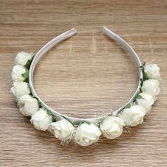 Flower Girl Headband, Ivory Flower Crown, Bridal flower crown, Wedding headband, Flower crown, White Wreath, Bridal headband, Wedding crown Flower Girl Headbands, Flower Crowns, White Wreath, Wedding Headband, More Cute, Floral Flowers, Ivory, Things To Come, Etsy Shop