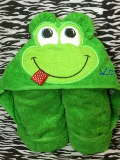 Personalized Frog hooded bath towel by SewMeTheMoney on Etsy, $23.99