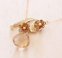 Delicate Vintage Flower and Champagne Quartz Necklace