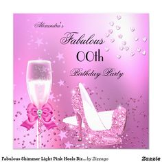 388 best adult birthday invitations images on pinterest birthday fabulous shimmer light pink heels birthday invitation stopboris Images