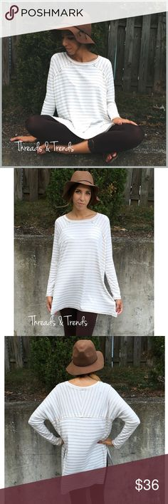 Long Sleeve Striped Tunic LONG SLEEVE STRIPED TUNIC  PRODUCT DESCRIPTION  • long sleeves • slit side hem • rounded neckline • soft, breathable material • relaxed, easy fit  Available in: Heather Gray or Beige  Material Content: rayon & spandex Tops Tunics
